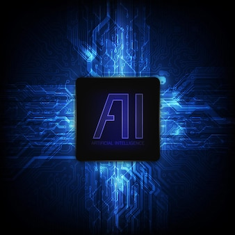 Ai-chipset op printplaat in futuristische conceptillustratie