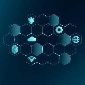 Ai cloud technologie iconen, vector digitale netwerk symbolen