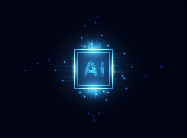 Ai computing chipset op printplaat concept werkgegevens