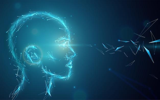 Ai concept achtergrond. abstract kunstmatig menselijk hoofd met ogenlicht. digitale toekomstvisie illustratie.