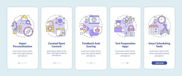 Ai in het onderwijs onboarding mobiele app-paginascherm met concepten