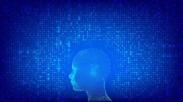 Ai. kunstmatige intelligentie concept. abstract wireframe digitaal menselijk hoofd op binaire codeachtergrond.