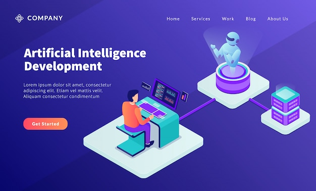 Ai kunstmatige intelligentie ontwikkelingsconcept met programmeur ontwikkelt robot