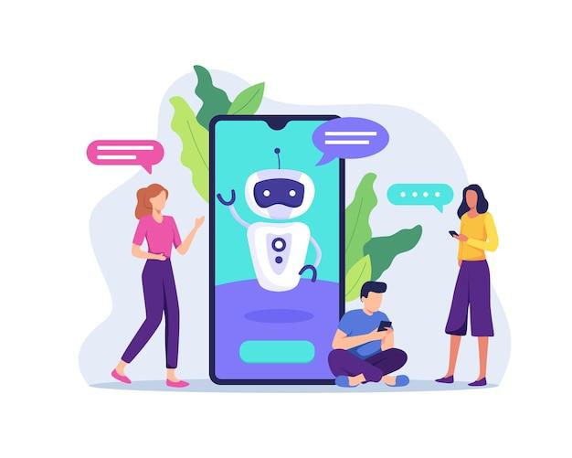Ai-technologie met chatbot die clientberichten ontvangt. toekomstige marketing, slimme kunstmatige intelligentiebot die online praat en klant helpt. in een vlakke stijl