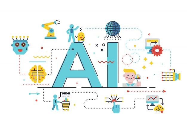 Ai-woord van letters voorziende illustratie
