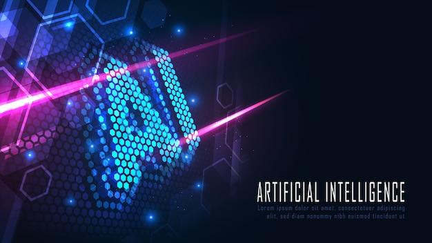 Ai zeshoekige tekst in futuristisch concept geschikt voor toekomstig technologisch kunstwerkconceptontwerp