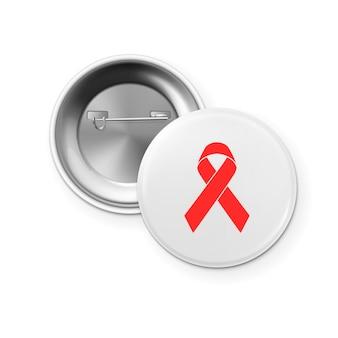 Aids awareness red ribbon op het pictogram van de badge van de cirkelknop - voor- en achteraanzicht. wereld aids dag-concept. ontwerpsjabloon close-up geïsoleerd op een witte achtergrond. eps10 vectorillustratie.