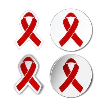 Aids-bewustzijnsteken - reeks stickers met afbeelding van rode linten. vector illustratie