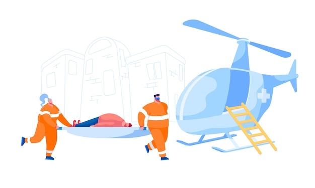 Air ambulance dienstverleningsconcept. medic-tekens dragen brancard met gewonde man patiënt. emergency paramedic artsen werken, medisch personeel beroep, gezondheidszorg. cartoon mensen