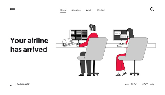 Air controllers characters working landing page template