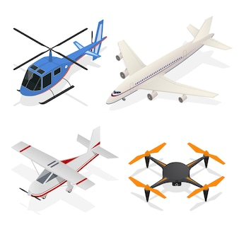 Air crafts set isometrische weergave - straalvliegtuig, helikopter passagiersvervoer en air drone quadrocopter.