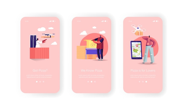 Air drones-pizzadozen leveren aan klanten mobiele app-pagina onboard-schermsjabloon