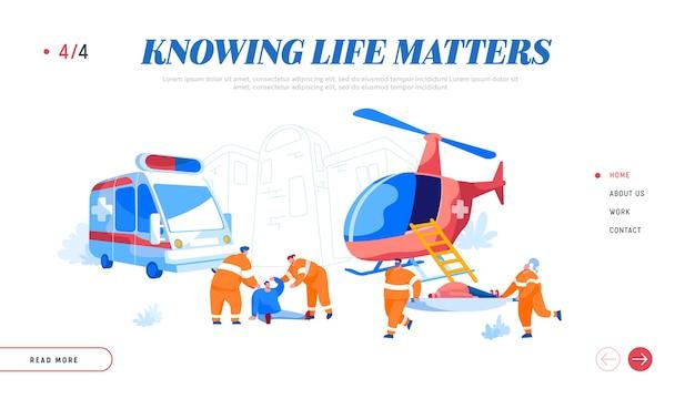 Air rescue service en landingspagina sjabloon voor medische noodhulp op de grond