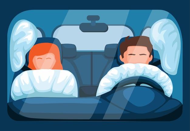 Airbagsysteem in auto. voertuigveiligheidsfunctie bij crash met bestuurder en passagier in vooraanzicht vector