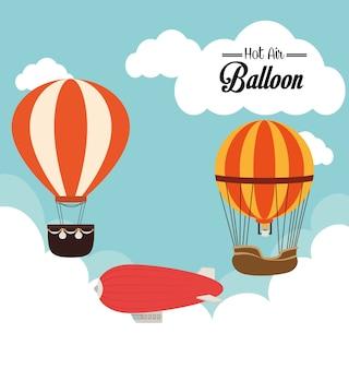 Airballoonontwerp over cloudscape backgroundvector illustratie