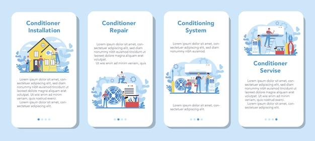 Airco reparatie en installatie service banner set voor mobiele applicaties. reparateur installeren, onderzoeken en repareren van conditioner met speciaal gereedschap en apparatuur. geïsoleerde vectorillustratie