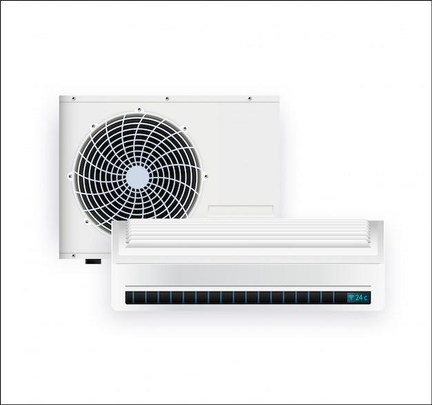 Airconditioner die op wit fotorealistisch wordt geïsoleerd