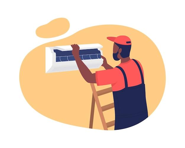 Airconditioner installeren in appartement 2d geïsoleerd. zorgt voor comfortabele temperaturen. werkman, technicus plat karakter op tekenfilm. ac-reparatieservice