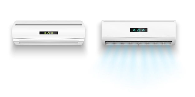 Airconditioners met luchtstroom realistische vectorillustratie geïsoleerd op een witte achtergrond