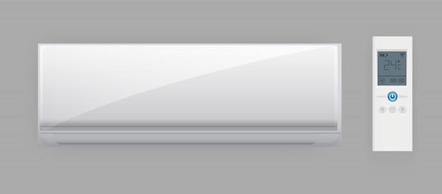 Airconditionersysteem met afstandsbediening. koel- en verwarmingsblok van conditioner. klimaat elektronische technologie apparatuur sjabloon.