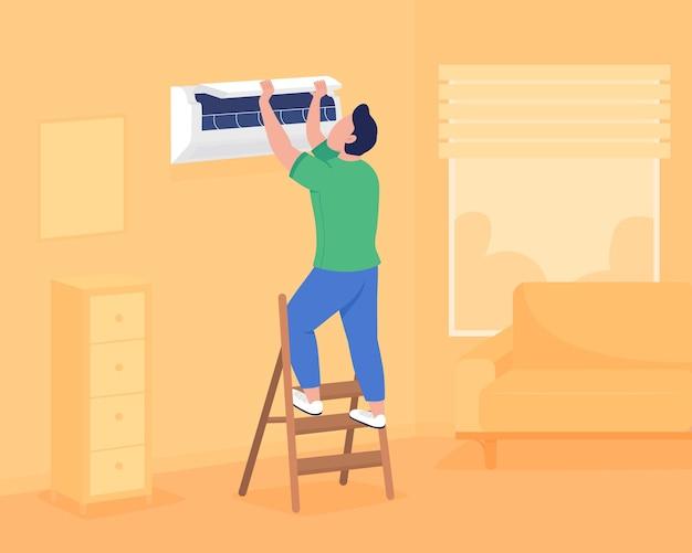Airconditioning installeren in een flat aan de muur