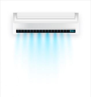 Airconditioning met frisse lucht geïsoleerd. witte airconditioning geïsoleerd op duidelijke achtergrond in stijl. illustratie over elektrische apparatuur binnenshuis.