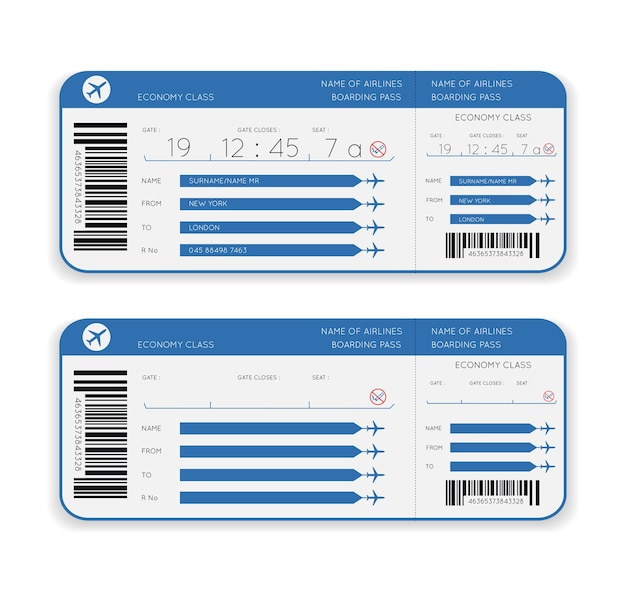 Airline boarding pass ticket geïsoleerd op wit