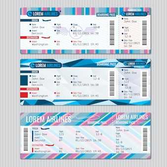 Airline boarding pass tickets vector sjabloon. kaart passagier, reis vliegtuig illustratie