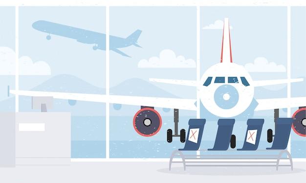 Airrport wachtkamerstoelen met sociale afstand voor covid19