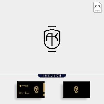Ak k brief gekoppeld luxe premium logo vector