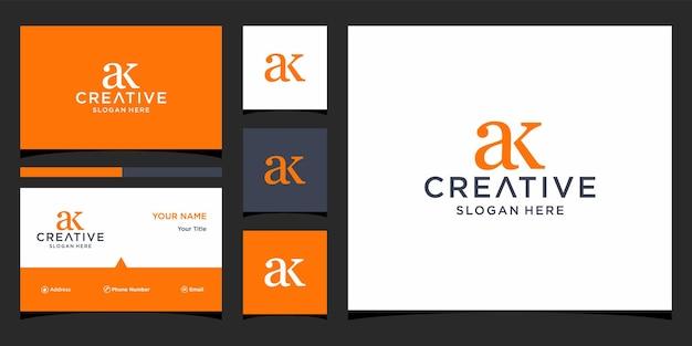 Ak-logo-ontwerp met sjabloon voor visitekaartjes