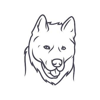 Akita dog - vectorembleem / pictogramillustratiemascotte