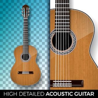Akoestische gitaar die op transparante achtergrond wordt geïsoleerd.