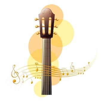 Akoestische gitaar met muzieknoten op de achtergrond