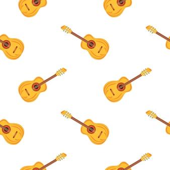 Akoestische gitaar. snaarinstrumenten naadloos patroon. muzikaal festival.