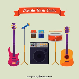 Akoestische muziek apparatuur in vlakke stijl