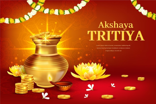 Akshaya tritiya evenement illustratie met gouden munten