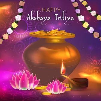 Akshaya tritiya evenement illustratie met munten