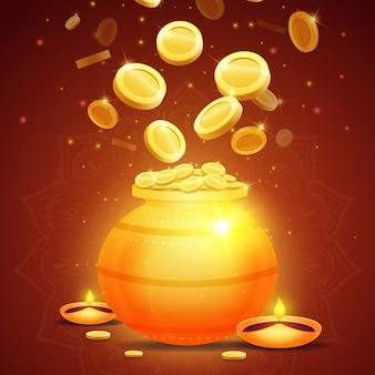 Akshaya tritiya gouden pot en geld