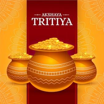 Akshaya tritiya illustratie met munten