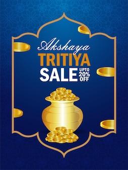 Akshaya tritiya-verkoopflyer op creatieve gouden muntenpot