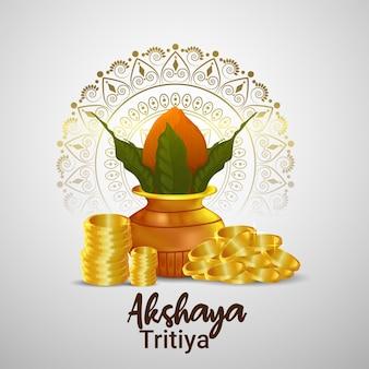 Akshaya tritiya-wenskaart met gouden munten, kalash, diwali diya