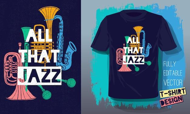Al die jazz belettering slogan retro muziekinstrumenten in schetsstijl
