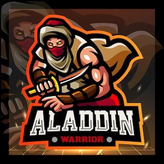 Aladdin mascotte esport logo ontwerp
