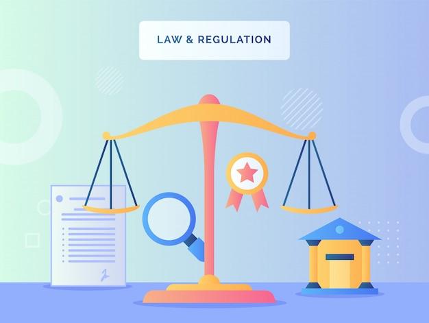 Alance schaal vooraan rechtbank lupe overeenkomst brief lint wet regelgeving concept met vlakke stijl.