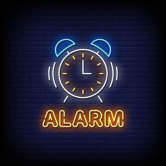 Alarm neon uithangbord op bakstenen muur Premium Vector