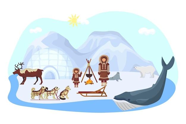 Alaska noord etnische concept, vectorillustratie. arctische natuur met ijsbeer, inuit-mensenkarakter in siberische kleding. pelsrobben op ijs, huis in koude sneeuw, hondenslee, walvis en eland.