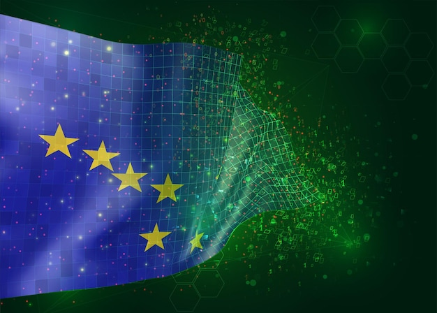 Alaska, op vector 3d-vlag op groene achtergrond met veelhoeken en gegevensnummers