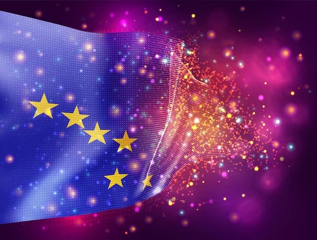 Alaska, vector 3d vlag op roze paarse achtergrond met verlichting en fakkels
