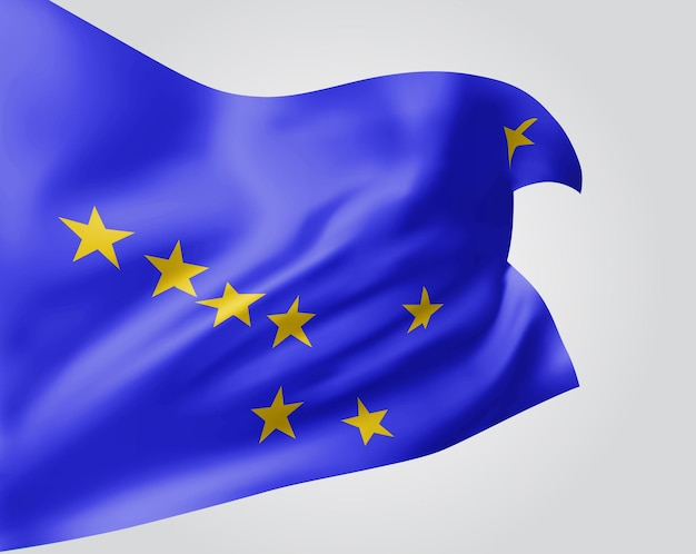 Alaska, vector vlag met golven en bochten zwaaien in de wind op een witte achtergrond.